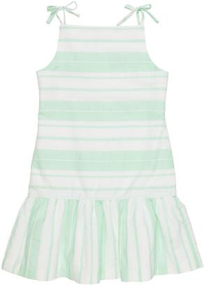 Florence Eiseman Girl's Striped Ruffle Drop-Waist Sleeveless Dress, Size 7-12