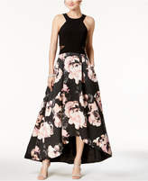 Xscape Evenings Solid & Floral-Print High-Low Gown