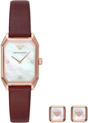 Emporio Armani Women Burgundy Leather Strap Watch 24x35mm Gift Set