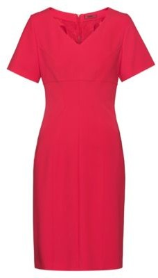 HUGO V-neck pencil dress with feature seaming