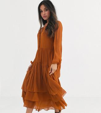 Vila Petite tiered maxi dress in brown-Black