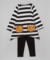 Beary Basics White & Black Candy Corn Tunic & Leggings - Infant Toddler & Girls