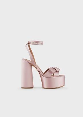 Emporio Armani Satin Platform Sandals With Bow