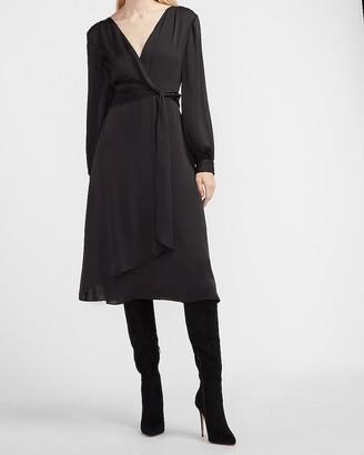 Express Satin Twist Front Midi Dress