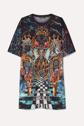 Balmain Oversized Printed Cotton-jersey T-shirt - Black