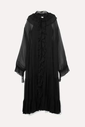 Rotate by Birger Christensen Ruffled Plisse-chiffon Maxi Dress - Black