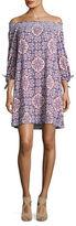 Jessica Simpson Smocked Off-the-Shoulder Print Dress