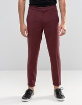 Lindbergh Cropped Casual Trouser In Burgundy