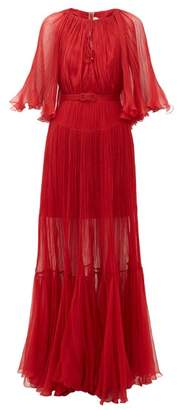 Maria Lucia Hohan Selah Belted Plisse-chiffon Gown - Womens - Red
