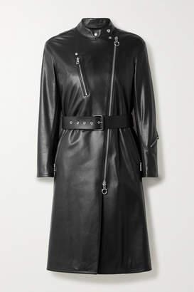 Salvatore Ferragamo Belted Leather Coat - Black