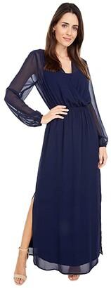 Adrianna Papell Chiffon Blouson Maxi with Jersey Lining (Navy) Women's Dress