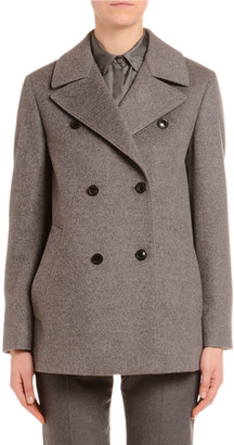 Agnona Cashmere Flannel Double-Breasted Pea Coat