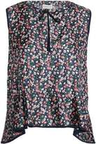 Moncler Pussy-Bow Floral-Print Silk-Twill Top