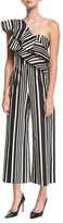Alice + Olivia Sabeen Ruffle-Top Cropped Silk Jumpsuit