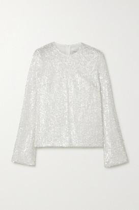Galvan Sequined Metallic Tulle Top - White