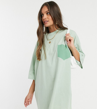 ASOS DESIGN Petite oversized t-shirt dress in with patch pocket in sage