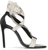 Lanvin Chain-trimmed Suede And Leather Sandals - Black
