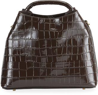 Elleme Raisin Medium Croc-Embossed Top-Handle Bag