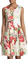 Chetta B Sleeveless Floral-Print Dress, Multi
