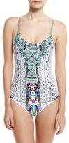 Camilla Printed Scoop-Neck One-Piece Swimsuit, Maasai Mosh