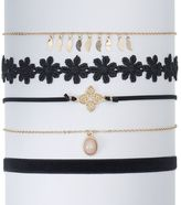 Mudd Flower, Quatrefoil & Velvet Choker Necklace Set