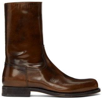 Dries Van Noten Black and Brown Leather Boots