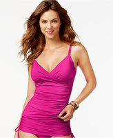 Calvin Klein Twist-Front Ruched Tankini Top Women's Swimsuit