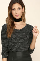 Lush Classic Collection Black Print Long Sleeve Top