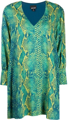 Just Cavalli snakeskin pattern V-neck dress