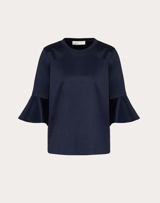 Valentino Double Jersey T-shirt Women Navy Cotton 100% S
