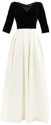 Vika Gazinskaya Cropped-sleeve Velvet And Hammered-silk Gown - Black White