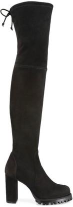 Stuart Weitzman Zoella Lug-Sole Over-The-Knee Suede Boots
