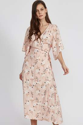 Liquorish Baby Pink Floral Wrap Midaxi Dress