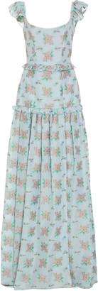 Arabella Markarian Ruffled Floral-Print Crepe De Chine Maxi Dress