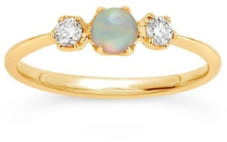 Dinny Hall 14k Yellow Gold Opal And Diamond Trilogy Ring