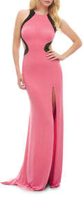 Mac Duggal Side-Cutout Jersey Gown with Thigh Slit