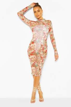 boohoo Mesh Renaissance Print High Neck Bodycon Midi Dress