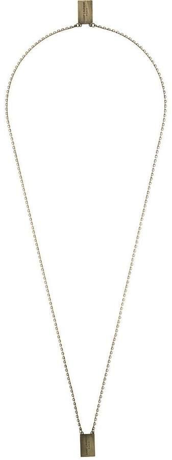 Saint Laurent logo dog tag necklace