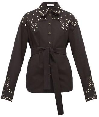 Françoise Francoise - Studded Cotton-twill Belted Overshirt - Womens - Black