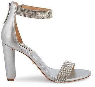 Badgley Mischka Elizabeth Embellished Metallic-Leather Ankle Strap Sandals