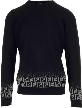 Fendi FF Motif Gradient Jacquard Knit Sweater