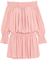 Norma Kamali Off-the-shoulder Ruffled Smocked Stretch-jersey Dress - Pastel pink