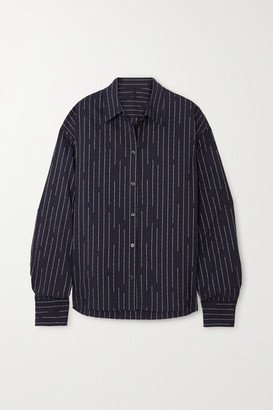 Unravel Project Striped Cotton-poplin Shirt - Black