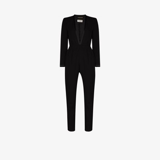 Saint Laurent Plunging wool jumpsuit