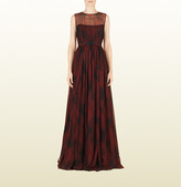 Gucci Red Check Print Silk Sleeveless Gown