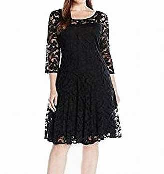 Chetta B Women's Plus Size 3/4 Sleeve Lace Dress