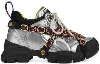 Gucci Flashtrek crystal-embellished metallic sneakers