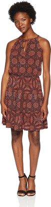 London Times Women's Petites Sleeveless Keyhole Halter Neck TIE Tiered Dress