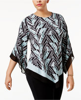 Alfani Plus Size Printed Asymmetrical-Hem Tunic, Only at Macy's