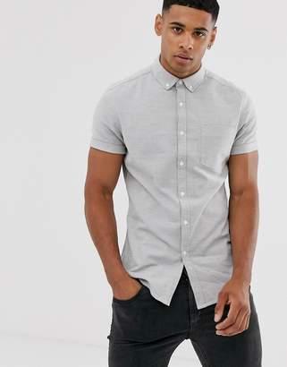 Asos Design DESIGN skinny oxford shirt in gray